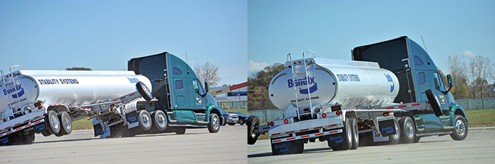 These photos compare the difference as a tractor/trailer performs the same maneuver with the Bendix Electronic Stability Program system off (pictured left) and with the system on (right). The vehicle is equipped with outriggers for safety on the test track. The outriggers are installed during demonstrations to keep the vehicle from rolling over.